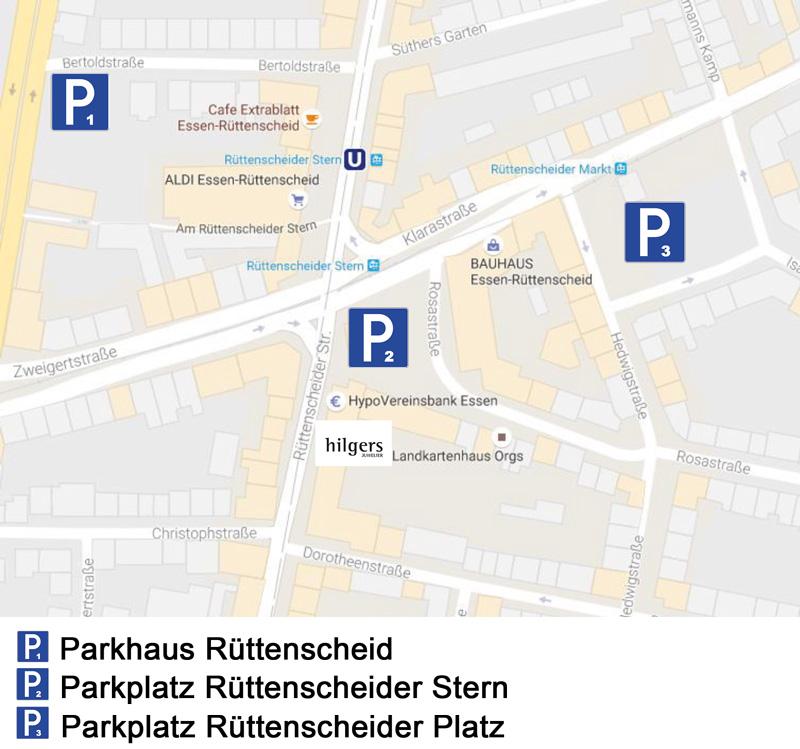 Gute Parkmöglichkeiten in Rüttenscheid | Juwelier Hilgers