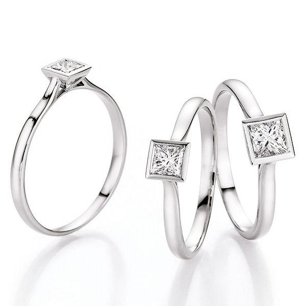 Verlobungsringe Hilgers Diamonds - Weißgold mit Princess-Cut Diamanten