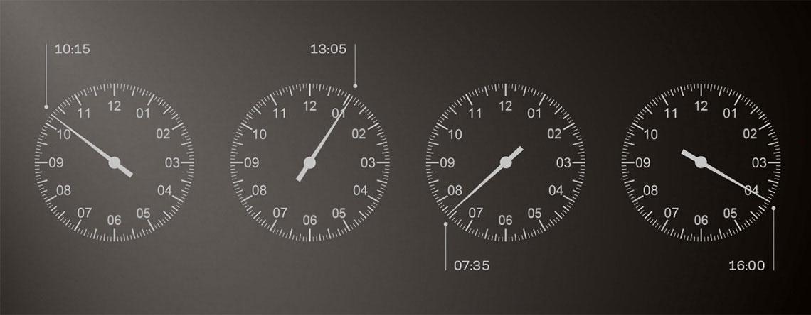Beispiele für die Uhrzeit auf einem Meistersinger-Zifferblatt | Juwelier Hilgers